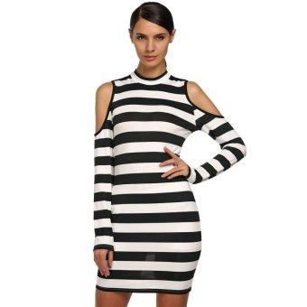 Sunweb FINEJO Stylish Ladies Off Shoulder Long Sleeve Slim Bodycon Casual Mini Dress ( Black ) - intl
