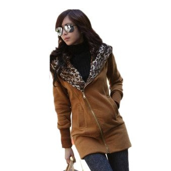Fancyqube Casual Zip Hoodie Jacket sleeved women Leopard Coat Khaki - Intl