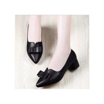 Giày gót vuông phối nơ xinh cao cấp - LN760