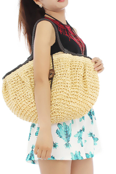 LALANG Women Retro Shoulder Bag Big Coconut Buttons Beige