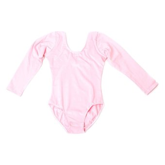 BolehDeals Girls Kids Gym Leotards Ballet Dance Leotard Stretchy Cotton Long Sleeve for Age 7-8 Pink - intl