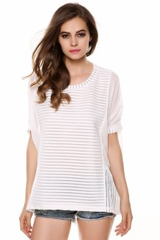 Cyber Meaneor Ladies Women Casual O-neck Batwing Sleeve Stitching Loose Chiffon Shirt ( White ) - intl