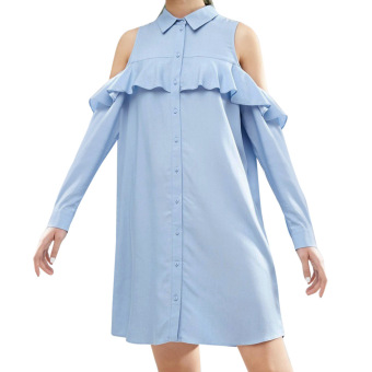 Turn-down Collar Pure Color Shirt Dress - intl