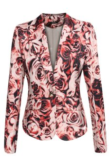 Sunweb FINEJO Women Leisure Single Button Lapel Coat Slim Padded Shoulder Floral Outwear Top Blazer (Red) - intl