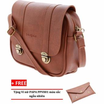 Túi đeo chéo PAPA PPT004 (Bò Đậm) + Ví nữ PAPA PPV001