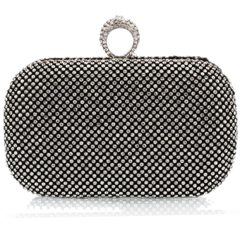 Vococal Rhinestone Chain Clutch Bag Purse (Black)