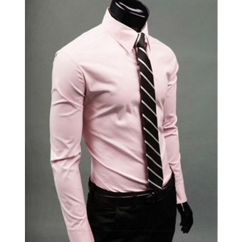 Moonar Fashion Pure Color Style Slim Shirt Men Casual/Fornak Style Long-Sleeve Shirt M-XL (Pink) - intl