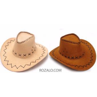 Bộ 2 mũ rộng vành nam kiểu cao bồi da lộn Rozalo RM2807N-Nâu + RM2807B -Be