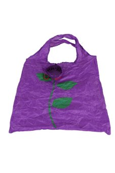 Cute 1Pc Rose Flowers Reusable Folding Shopping Bag Travel Grocery Purple - Intl