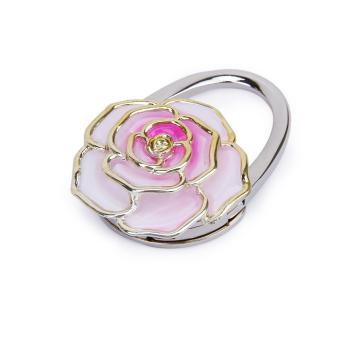 Folding Handbag Purse Bag Hanger Durable Table Hook Hang Holder Rose Flower Shape Pink - Intl