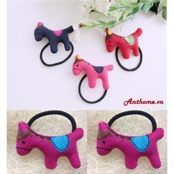 Bộ 2 Dây Buộc Tóc Handmade hình ngựa (Hồng đậm)