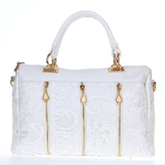 Fashion Women's Lady Retro Lace Handbag PU (Faux) Leather Tote Crossbody Shoulder Bag White - intl
