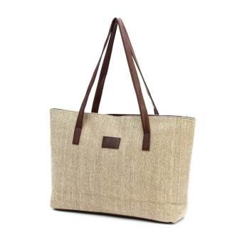 Wholesale Price!Vintage Winter Women's Handbag Large Casual Shoulder Bag Linen Fabric Material Korean Tote Bag Beige - Intl
