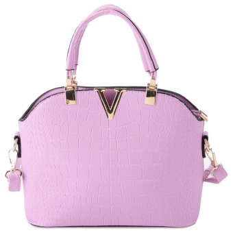 V Design Solid Pattern Zipper Handbag (Light Purple) --TC