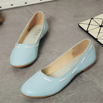 Casual Round Toe Slip On Flat Shoes Soft Comfortable Ballet Shoes(Blue) - intl