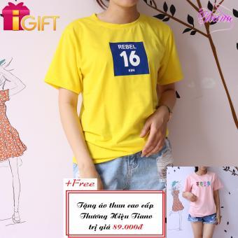 Áo Thun Nữ Tay Ngắn In Hình Rebel 16 Ken Cực Cool Tiano Fashion LV375 ( Màu Vàng ) + Tặng Áo Thun Nữ Tay Ngắn Thêu Hình Bốn Con Mèo Phong Cách Tiano