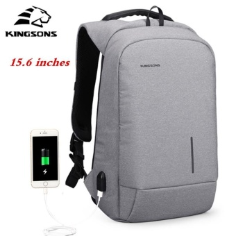 Kingsons 15.6'' External USB Charging Backpacks School Backpack Bag Laptop Computer Bags Men's Women's Travel Bags Business Bags (Grey) - intl