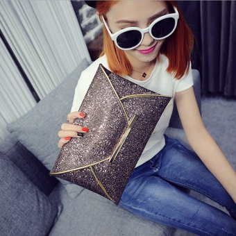 Freebang US Women Sequins Evening Party Glitter Envelope Bag Purse Clutch Handbag Satchel Champagne - intl