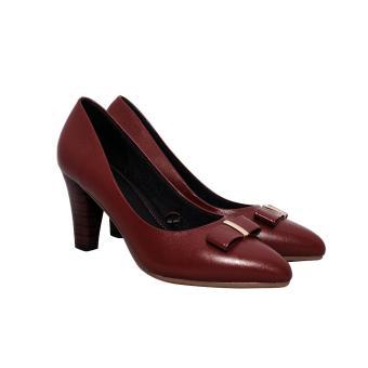 Giày nữ cao gót 7cm da bò thật cao cấp màu đỏ đô ESW95
