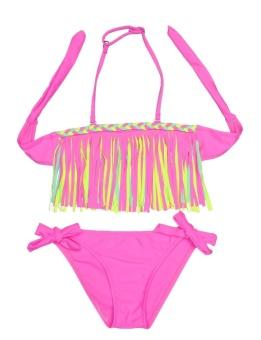 Cyber New Kids Girls Summer Sexy Swimsuit Tassel Bikini Set Bathing Beachwear Swimwear ( Pink ) - intl