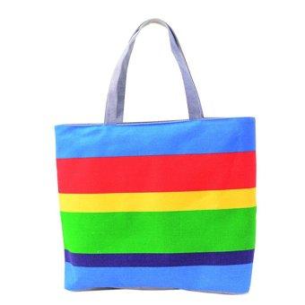 Lady Fine lines Shopping Handbag Shoulder Canvas Bag Tote Purse (Blue) - Intl