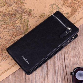 US Men Long Leather Wallet Pockets Money Purse Credit Card Holder Clutch Bifold Black - intl