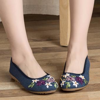 Giày búp bê đính hoa, lót cói, đế cao su MDH-GN5502(EU: 35-39, xanh nước biển)