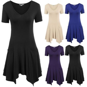Cyber Women Casual V-Neck Short Sleeve Solid A-Line Pleated Asymmetrical Hem Slim Elastic Mid-Long Top with Pockets ( Purple ) - intl