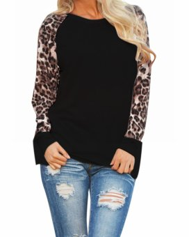 ZANZEA Women's Leopard Chiffon Top Black - Intl