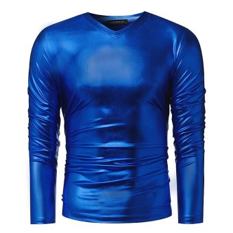 Mens Bright Leisure V Influx T-shirt Handsome Slim Pullover Long Sleeve T-shirt (Blue) - intl