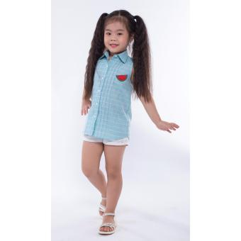 Áo kiểu bé gái Ugether UKID164 (Sọc đính hình dưa hấu)