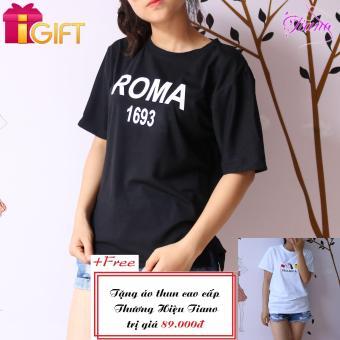 Áo Thun Nữ Tay Ngắn In Hình Roma 1693 Dễ Thương Tiano Fashion LV315 ( Màu Đen ) + Tặng Áo Thun Nữ Tay Ngắn In Hình Paolaeeya - Hạt đậu Phong Cách Tiano