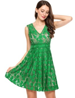 Cyber Women Casual Sleeveless Floral Lace V Neck Vintage Cocktail Evening Dress ( Green ) - intl