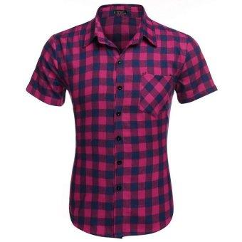 Cyber COOFANDY Men's Short Sleeve Turndown Neck Plaid Shirt (Rose Red) - Intl