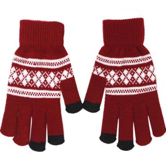 1 Pair of Unisex Touch Screen Sensitive Gloves Knitted Winter Warm Christmas Glove Red - intl
