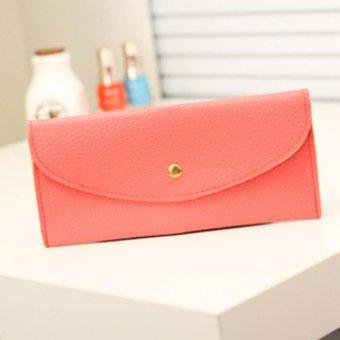 Moonar Women Candy Color Envelope Clutch Bag Thin Wallet Card Purse (Watermelon) - intl