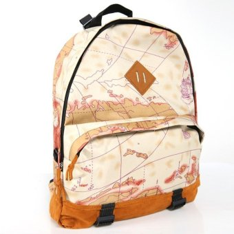Linemart New Fashion Unisex Newspaper Design Print Backpack Schoolbag Shoulder Bag ( Multicolor ) - intl