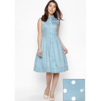 Đầm xòe Fadfashion cổ sơ mi chấm bi xanh F162014D