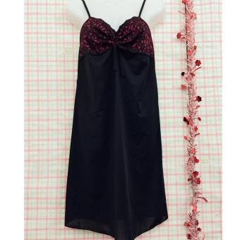 váy ngủ 2 dây thun lạnh phối ren sexy-VN204 (đen)