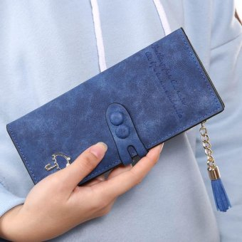 Linemart Women Lady Synthetic Leather Card Holder Long Trifold Wallet Clutch Checkbook Tassel Handbag Purse ( Blue ) - intl