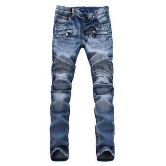 Men Designed Straight Slim Denim Trousers(Light blue) - intl
