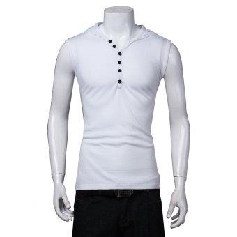 Men Sport Beach Hat Vest Tank Tops Casual Slim Fit Sleeveless Hoodie - Intl