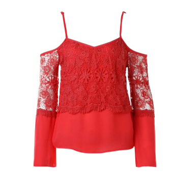 Women Lace Long Sleeve Loose T-shirt(Red) - intl