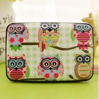 Moonar 14 Slots Cartoon Owl Pattern Credit Business ID Card Holder Case Box (4#) - intl
