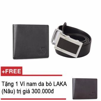 Bộ ví và thắt lưng nam da bò thật LAKA đen trơn + Tặng 01 ví na da bò LAKA (Nâu trơn) trị giá 300.000đ