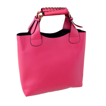 Simple Portable Shoulder Bag PU Leather Women Bag Rosy