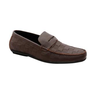 Giày nam da bò thật vân ca rô cao cấp màu nâu ESM35