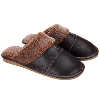 1Pair Men Winter Warm Soft Anti-slip Genuine Leather Slippers for Bedroom Living room Office Apartment Hotel EU 39-40/ US 8-9 Size Dark Brown - intl