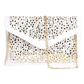 Womens Envelope Foil Floral Purse Lady Handbag Shoulder Evening Bag(white) - intl