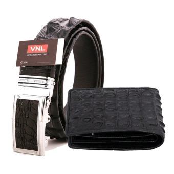 Bộ thắt lưng và ví nam da cá sấu chính hãng Da Giày Việt Nam VNL86LA16 (Đen)